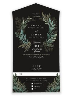 This Wedding Invite Features A Crest Of Leaves And Ferns. Black, Green All-In-One Wedding Invitations From Minted By Independent Artist Alethea And Ruth. Fall Wedding, Rustic Wedding, Our Wedding, Dream Wedding, Wedding Ideas, Green Wedding Invitations, Wedding Stationary, Twilight Wedding, Wedding Website