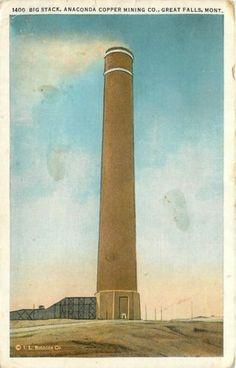 Great-Falls-Montana-Big-Stack-Anaconda-Copper-Mining-Co-1920-Postcard