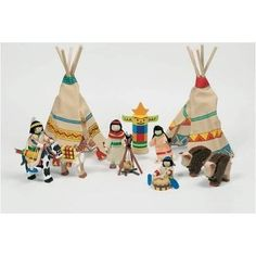 GOKI wooden toy bendy dolls Indian camp set