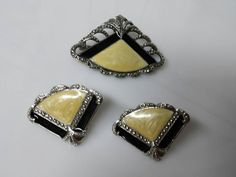 Avon Vintage set 1989 brooch and pierced earrings Art Deco Eames Era