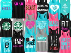Whether you are buying for friends, or you cant decide on a favorite and want to treat yourself to some stylish workout apparel -- this bundle Gym Tank Tops, Workout Tank Tops, Workout Shirts, Workout Wear, Workout Fitness, Fitness Motivation, Fitness Tanks, Moms Sleep, Girl Train