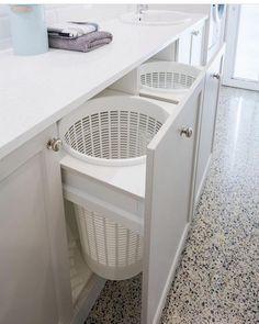 Wäscheecke Laundry Design And Manufacture Modern Laundry Rooms, Laundry Room Layouts, Laundry Room Remodel, Laundry Room Organization, Laundry In Bathroom, Laundry Closet, Laundry Area, Basement Laundry Rooms, Laundry In Kitchen