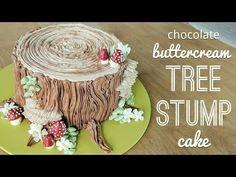 All buttercream chocolate tree stump cake with piped buttercream tree mushrooms…