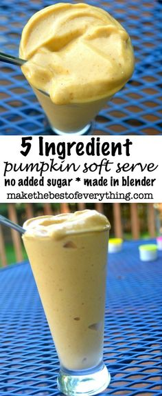 Healthy Pumpkin Soft Serve - omit almond extract,use lactose free or non-dairy milk, and keep cinnamon to less than 1 tsp.omit banana, maybe freeze pumpkin Healthy Treats, Healthy Recipes, Keto Recipes, Smoothies, Smoothie Recipes, Ice Cream For Breakfast, Pumpkin Smoothie, Dairy Free Ice Cream, Soft Serve