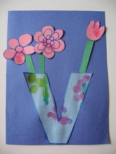 Letter V Vase Craft  - have the V cut out like a heart / symmetrical cutting