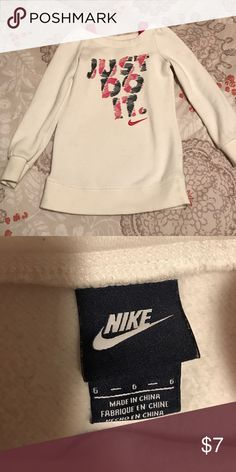 Girls Nike Sweatshirt Girls size 6 Nike sweatshirt. EUC. Really cute with black or pink leggings/tights. Perfect for an athletic girl! (Colors are white, black, and pink) Nike Shirts & Tops Sweatshirts & Hoodies