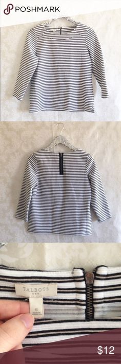 """Talbots Champagne Striped Ponte Top Talbots White, Black, Champagne Sparkle Striped Ponte Quarter Sleeve Top. Exposed zipper detail at nape of neck. S. 🛍Before you buy, I want you to know:  * CONDITION: GUC. Mild signs of wear.  * MEASUREMENTS: (all are approximate.) pit to pit: 19"""" total length: 22"""" * 💖 Please ask any questions. I want you to love it!  💰15% off 2+ bundles ♥️ Pet & Smoke Free Home  📬 Usually ships in 1 business day 10ahi317 Talbots Tops Blouses"""