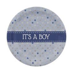 It's a Boy Blue Polka Dot Paper Plates  $1.60  by Baby_Sweet_Baby  - custom gift idea