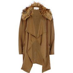 Khaki faux fur collar waterfall jacket £68