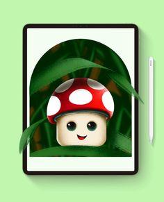 Cute mushroom drawing tutorial in Procreate