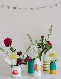 Floral Print Party Vases