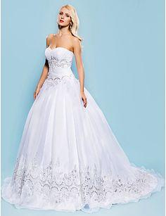 trem-namorada tribunal vestido de baile vestido de noiva de organza - BRL R$ 483,49