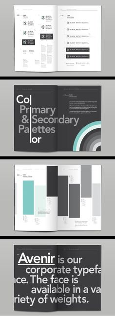 The colour layout for Blackwatch brand guidelines is intriguing and could be used in a horizontal format Layout Design, Web Design, Print Layout, Book Design, Corporate Design, Corporate Style, Corporate Branding, Material Design, Editorial Design