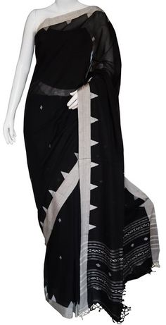 Bengal Cotton Handloom Black and White saree with Blouse