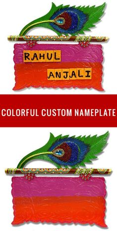 Nameplates for Indian Homes and Flats. Get Custom Name Plates for your sweet home or newly build Flat. These Handmade Nameplates and be Easily Personalized as per need. More Custom Nameplates are available on SPECTRAHUT. Wooden Name Plates, Door Name Plates, Name Plates For Home, Diwali Decoration Items, Diya Decoration Ideas, Decorations, Mural Wall Art, Hanging Wall Art, Name Plate Design