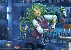 Gorgon Bartender by Maxa-art on DeviantArt Character Concept, Character Art, Character Design, Character Ideas, Fantasy Creatures, Mythical Creatures, Fantasy Paintings, Fantasy Art, Medusa Art
