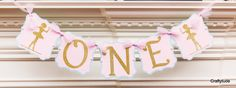 Ballerina party High chair Banner Pink and gold by Craftytude