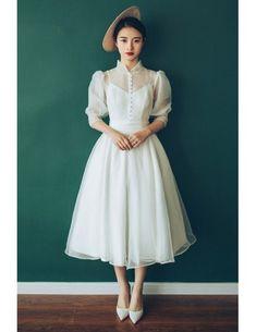 6d30e5613ab29 Vintage Chic Tea Length Bubble Sleeves Weddding Dress with Collar 70s 80s  Style #E8936 - GemGrace.com