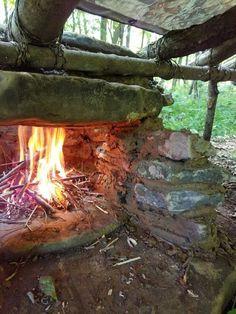 Up close shot of chimney.Shelter idea located on bushcraftusa.com forum,one of the best survivalist and bushcraft forums online. #bushcraftshelterideas #bushcraftideas