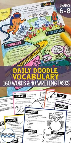 This Daily Doodle Vocabulary resource will introduce your students to dozens of new vocabulary words, and a brand-new way of learning them: with doodles! When students are exposed to new vocab words, they become strong readers and writers. This resource New Vocabulary Words, Vocabulary Instruction, Teaching Vocabulary, Vocabulary Activities, Teaching Materials, Teaching Ideas, Creative Teaching, Teaching Resources, Teacher Helper