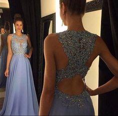 New Arrival 2016 Lace Appliqued Lavender Chiffon Prom Dress
