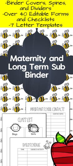 Maternity and Long Term Sub Binder Letter templates and Binder - leave templates