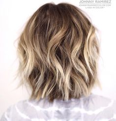 Lived in color ™ Hair color by Johnny Ramirez Hair cut by the amazing Medium Short Hair, Short Hair With Layers, Medium Hair Styles, Short Hair Styles, Ombre Hair Color, Cool Hair Color, Cool Blonde Balayage, Bronde Hair, Bob Hairstyles