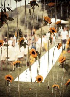 Sunflower ceremony backdrop