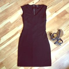 V Neck Ann Taylor Dress Great Little Black Dress from Ann Taylor with side detailing and back zipper.  Great for work or after! Ann Taylor Dresses