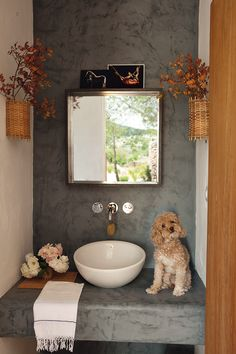 Smith in the bathroom, the house in Ibiza of Interior designer Luis Galliussi. Ibiza, Cottage Bath, Deco Boheme, Interior Decorating, Interior Design, Pet Furniture, Architectural Digest, House In The Woods, White Walls