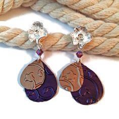 Boucles d'oreilles tiges fleur aregentée - breloques nespresso - perles tchèques - violet pêche