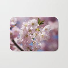 Spring Pink blossom branch bath mat by #PLdesign #FlowerGift #spring #blossoms