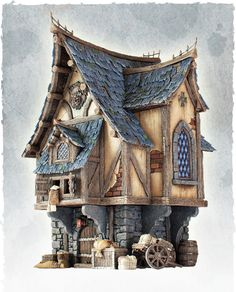 diorama ideas A little bit of small medieval town. Few months ago we have managed to find a nice house,moved in, settled down, had some parties and now it is time to come back to hobby. Casa Medieval Minecraft, Medieval Houses, Medieval Town, Medieval Fantasy, Miniature Houses, Fantasy House, Fantasy Art, 3d Modellierung, Architecture Sketches