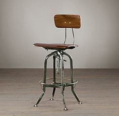 Vintage Toledo Bar Chair, Antiqued Green - industrial - bar stools and counter stools - other metro - Restoration Hardware have 2 in basement and could use Metal Chairs, Bar Chairs, Dining Chairs, High Chairs, Vanity Chairs, Bar Tables, Desk Chairs, Office Chairs, Study Chairs