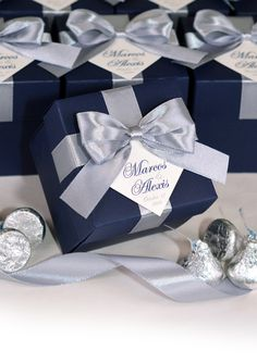 Silver & Navy Blue Wedding Bonbonniere, Wedding favor box with satin ribbon bow and your names, Personalized favor candy boxes for guests