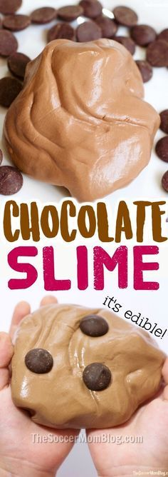 YUM!! Smells like dessert!! This edible chocolate slime recipe is safe for kids and easy to make for hours of sensory play!
