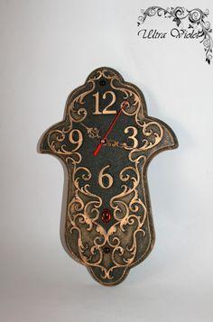 Exclusive Hamsa Wall Clock amulets Kabbalah Hand of Fatima.HAMSA,Single piece, handmade