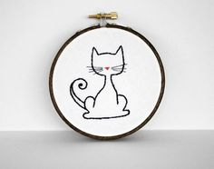 Simple Black Kitty Cat with a Curled Tail by sometimesiswirl, $15.00