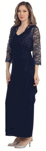Navy Lace Bust and Bolero ITY Side Drape Long Gown #weddingguestdresses #weddingeventdresses