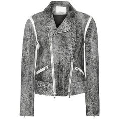 3.1 Phillip Lim black and white biker jacket. Speckled leather. White leather panels, zipped pockets and cuffs. Asymmetric two-way zip fastening through front.…