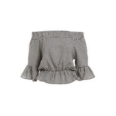 Small Checkerboard Off-The-Shoulder Peplum Top ($17) ❤ liked on Polyvore featuring tops, off shoulder peplum top, peplum tops, off shoulder tops, off the shoulder peplum top and checkered top