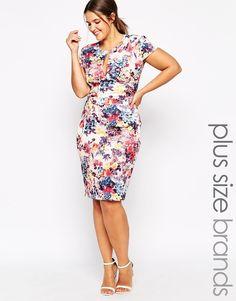 Image 1 of ASOS CURVE Placed Digital Floral Print Scuba Body ...