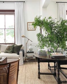 Jute rug in living room. chic and sophisticated. Love the pop of green. Open Table, Outdoor Decor, Outdoor Furniture Sets, Dining Bench, Living Room, Living Spaces, Book Flowers, Studio Mcgee, Stack Of Books
