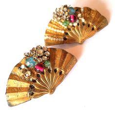 Darling Gold Filled Pastel Beaded Fan Pin Set w/ Rhinestones circa 192 - Dorothea's Closet Vintage