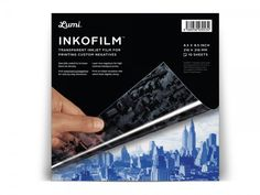 """Inkjet-printable film for Lumi Inkodye Fabric Printing Kits $14.95 High-quality transparent inkjet film for printing digital negatives Includes: 10 sheets Specially coated to increase density Requires an inkjet printer Dimensions: 8.5"""" x 8.5"""""""