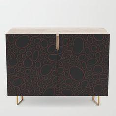 Organic - Red & Black Credenza by laec | Society6 Black Interior, Wood Finish, Cabinet, Furniture, Interior, Bedroom Set, Credenza, Home Decor, Office Cabinets