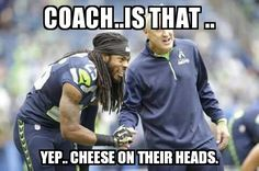 """Seahawks coach Pete Carroll said Monday the team celebrates its players' """"uniqueness,"""" and that cornerback Richard Sherman was simply expressing an opinion about the relationship between Patriots owner Robert Kraft and NFL commissioner Roger Goodell. Seahawks Memes, Seahawks Fans, Seahawks Football, Seattle Seahawks, Nfl Memes, Sports Memes, Nfl Sports, Funny Sports, Football Jokes"""