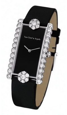 Diamond Watches Collection : Van Cleef & Arpels black, diamond watch - Watches Topia - Watches: Best Lists, Trends & the Latest Styles Van Cleef Arpels, Van Cleef And Arpels Jewelry, High Jewelry, Jewelry Accessories, Fashion Accessories, Accessories Online, Fashion Jewellery, Bling Bling, Ring Armband