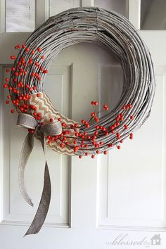 Adorned with ribbon and berry stems, this beauty is a no-hassle craft with a finish that will leave you feeling merry and bright. Get the tutorial at My Blessed Life.