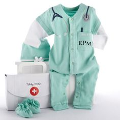 """Calling all newborn medical professionals, STAT! Introducing Baby MD, a whimsically cozy doctor's outfit for your own aspiring MD. Complete with a toasty-warm surgical cap and """"hospital booties"""", this soft, green sleeper sports a stethoscope graphic casually slung around the neck, and an embroidered pocket with pen to write those teeny-tiny prescriptions! Free Monogramming too! $34.95"""